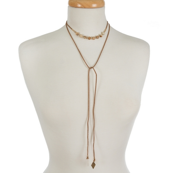 "Brown faux suede wrap choker featuring picture jasper beads. Approximately 12"" in length."