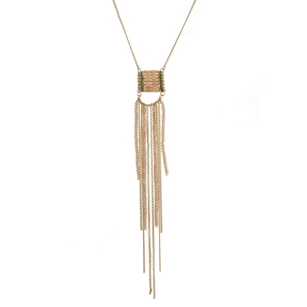 """Gold tone necklace with a topaz beaded tassel pendant. Approximately 30"""" in length."""