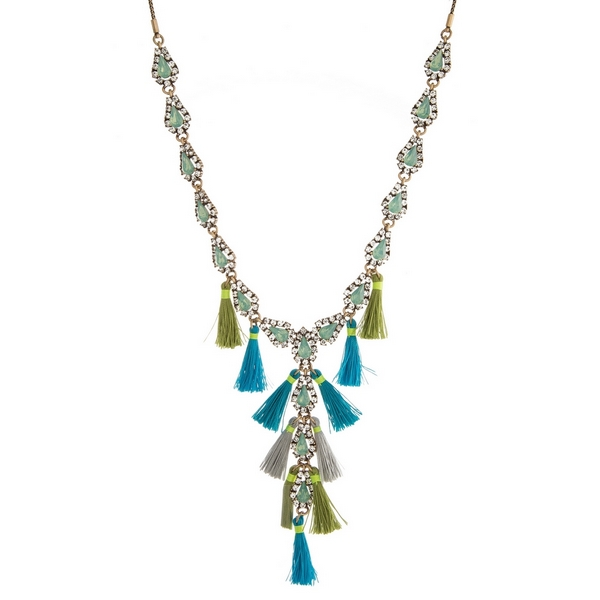 "Burnished gold tone 'Y' necklace with mint green rhinestones and gray, turquoise and green tassels. Adjustable from 16"" to 32"" in length."