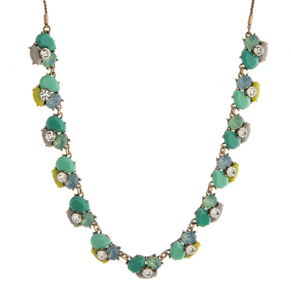"""Burnished gold tone necklace with teal, mint green and gray stones and rhinestones. Adjustable from 12"""" to 32"""" in length."""
