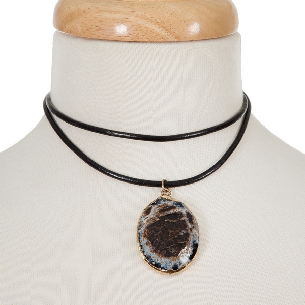 "Black leather choker with a black and gray natural stone pendant. Approximately 12"" in length."