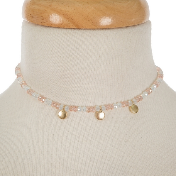 "Pale pink and opal beaded choker with gold tone circle accents. Approximately 12"" in length."