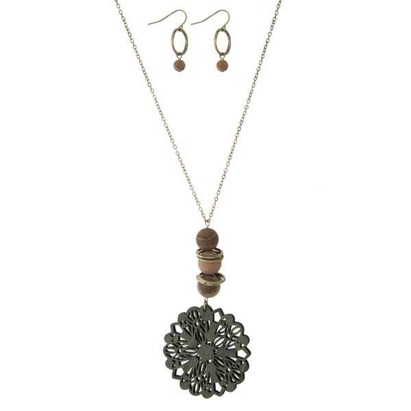 Wholesale gold necklace set wooden olive green laser cut pendant natural stone a