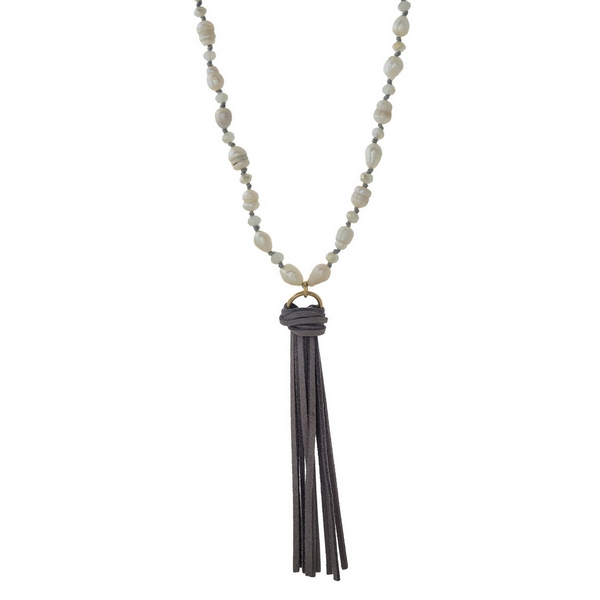 Wholesale gray faux suede necklace freshwater pearl beads tassel pendant Adjusta