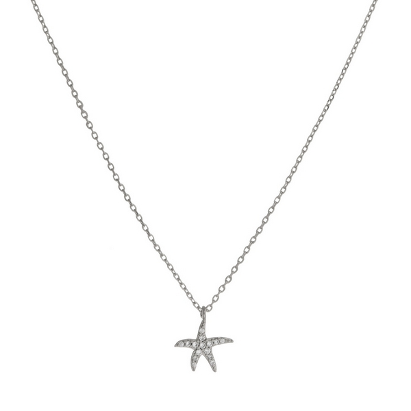 "Dainty silver tone necklace with a starfish pendant. Approximately 16"" in length."