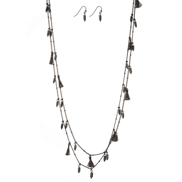 "Hematite tone wrap necklace set with gray tassels and beads and matching fishhook earrings. Approximately 60"" in length."