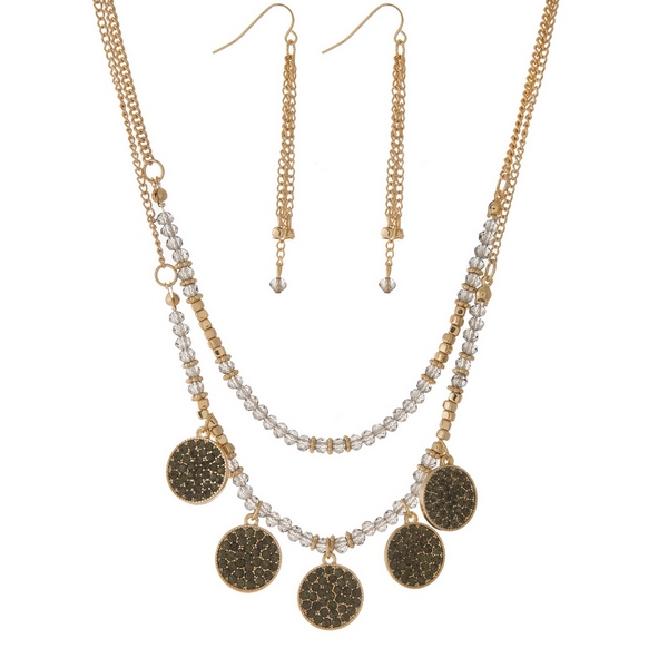 """Gold tone necklace set with two layers of gray faceted beads and black rhinestones. Approximately 16"""" and 18"""" in length."""
