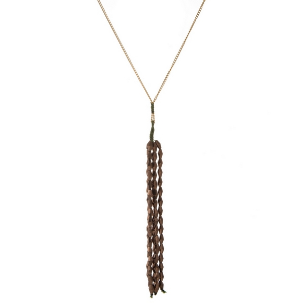 "Gold tone necklace with a bronze faceted bead tassel pendant. Approximately 30"" in length."
