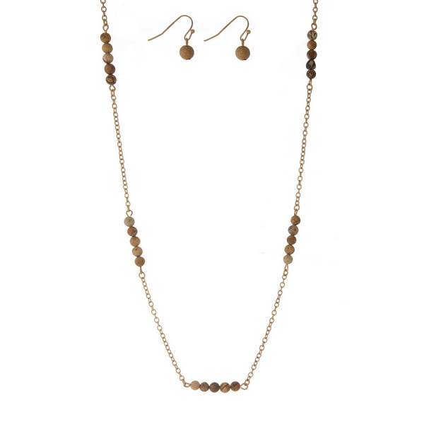 """Gold tone necklace set with picture jasper natural stone stationaries and matching fishhook earrings. Approximately 30"""" in length."""