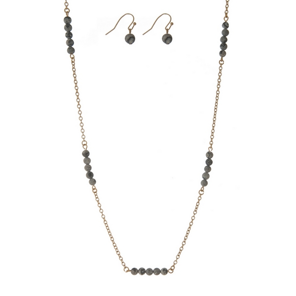 """Gold tone necklace set with gray jasper natural stone stationaries and matching fishhook earrings. Approximately 30"""" in length."""