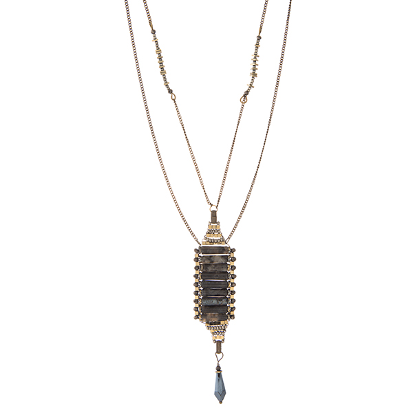 """Burnished gold tone necklace with a labradorite natural stone pendant. Approximately 24"""" in length."""