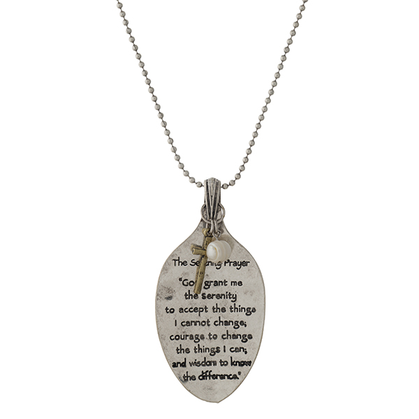 "Silver tone necklace with a spoon pendant, stamped with The Serenity Prayer.  Approximately 28"" in length."