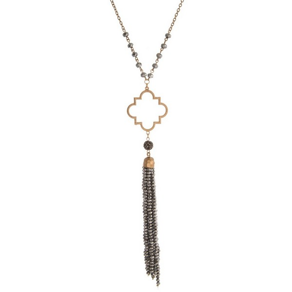 Wholesale gold necklace open quatrefoil beaded tassel