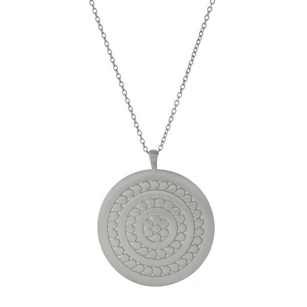 Wholesale long metal necklace medallion pendant satin finish