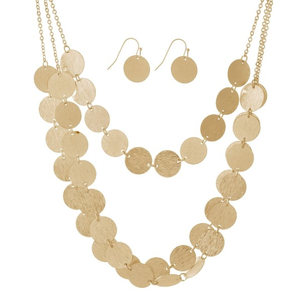 Wholesale metal three layer necklace brushed circle shapes