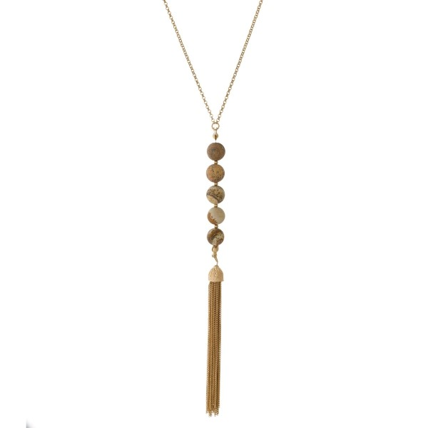 Wholesale gold necklace natural stone beads chain tassel Natural stone colors wi