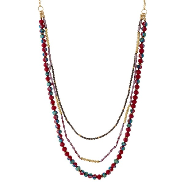 Wholesale gold necklace layers faceted beads
