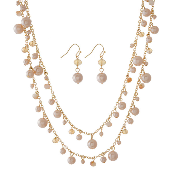 """Gold tone necklace set with pearl beaded charms and matching fishhook earrings. Approximately 44"""" in length."""