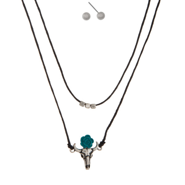 """Dainty, two layer, waxed cord necklace set with a steer head skull pendant and matching stud earrings. Approximately 16"""" and 16"""" in length."""