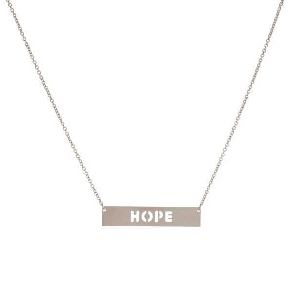 Wholesale dainty necklace bar pendant encouraging message cutout