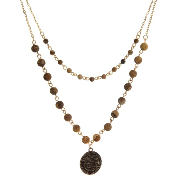 Wholesale two layer natural stone beaded necklace coin pendant