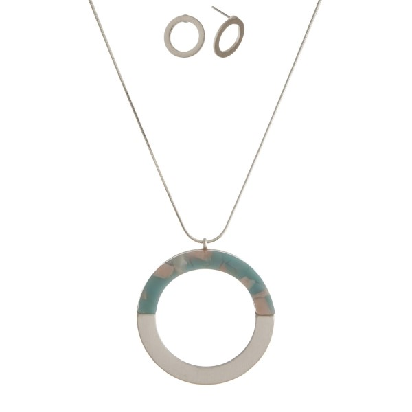 """Long, necklace set with a half acetate circle pendant and matching stud earrings. Approximately 32"""" in length."""