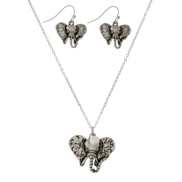 Dainty necklace set with an elephant head pendant and matching wholesale dainty necklace set elephant head pendant matching fishhook earrings aloadofball Images