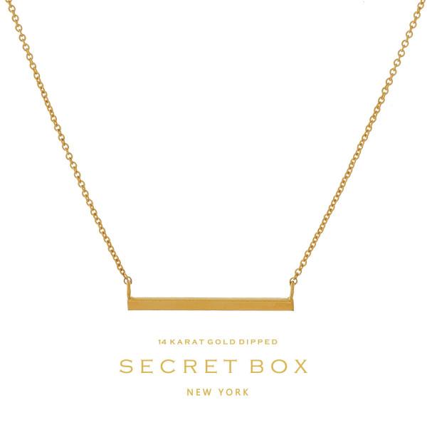 "Secret Box 14 karat gold over brass, bar pendant necklace. Approximately 16"" length."