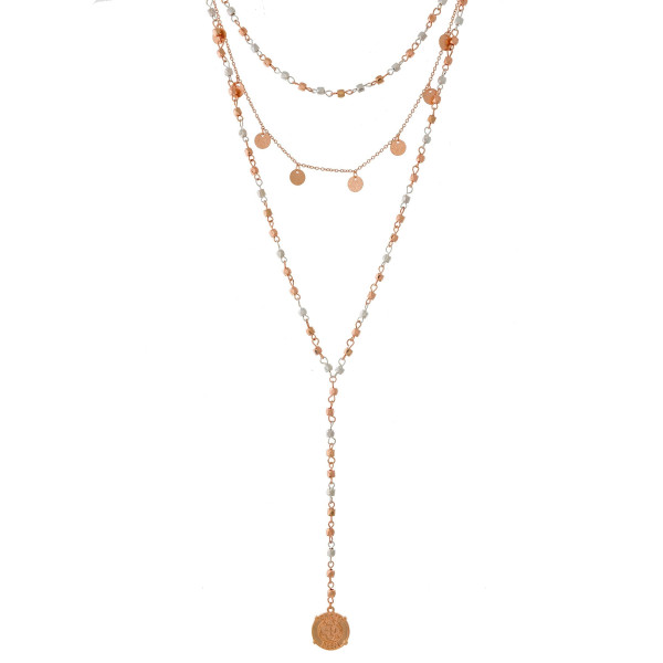 """Dainty, two tone, three layer Y necklace with two tone beads and coin pendants. Approximately 14"""" to 24"""" in length."""