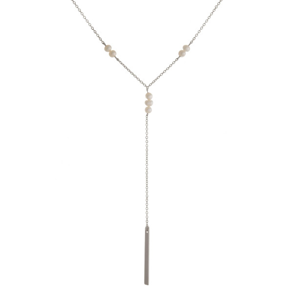 "Dainty, layered necklace with pearl accents and bar pendant. Approximately 18"" in length."