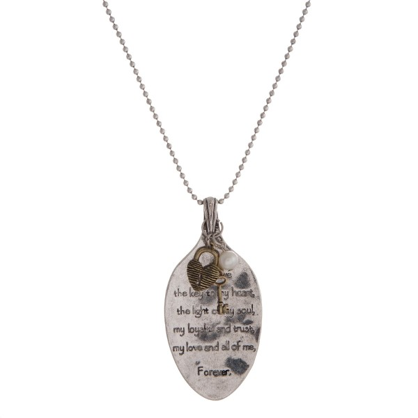 Wholesale burnished silver necklace spoon pendant stamped scripture