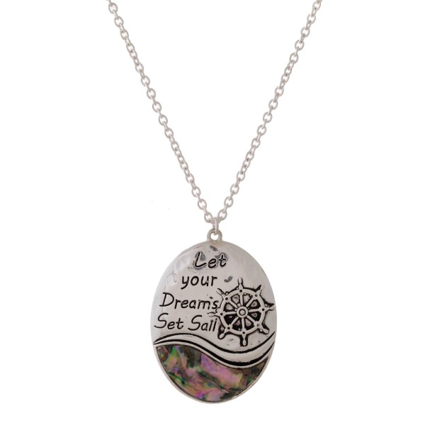 Wholesale long silver necklace abalone accent stamped message