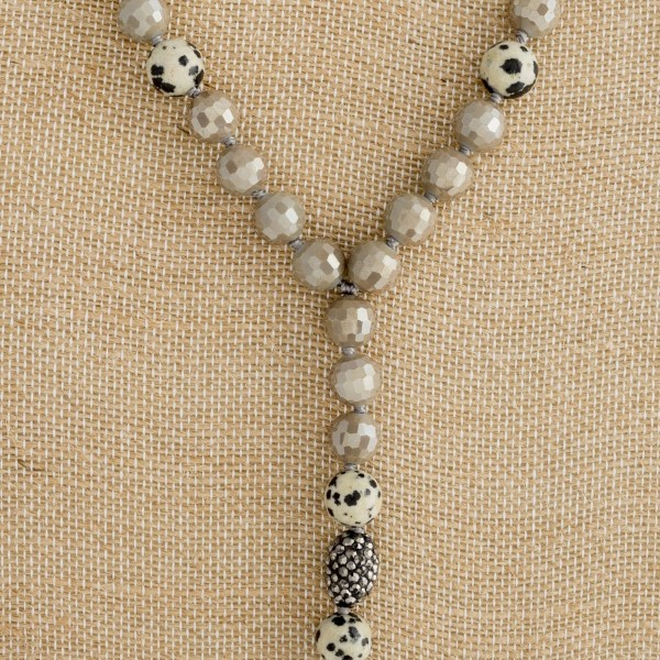"""Y necklace with faceted and natural stone beads. Approximately 24"""" in length."""