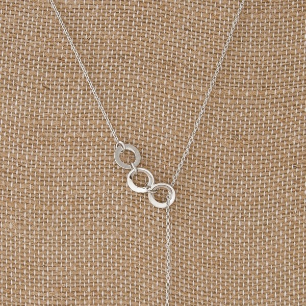"Dainty Y necklace with circle detail. Approximately 18"" in length with a 5"" Y."
