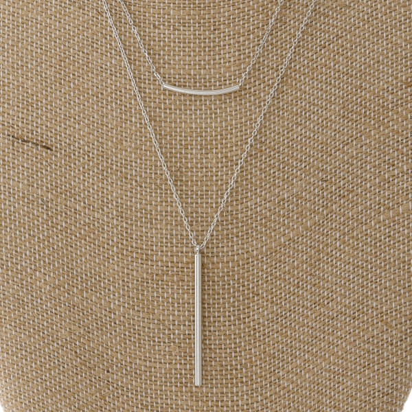 "Dainty layered necklace with bar pendant. Approximately 16-20"" in length."