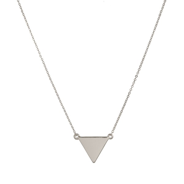 """Dainty, metal necklace with triangle focal. Approximately 16"""" in length."""