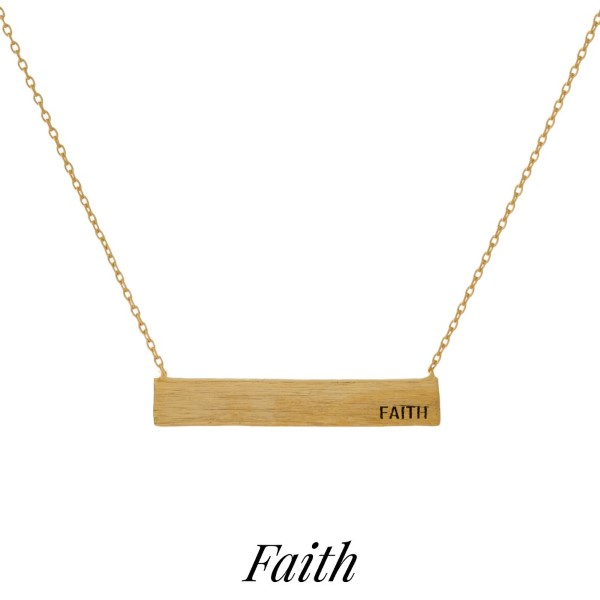 """Dainty tone necklace with a bar pendant, stamped with encouraging messages. Approximately 16"""" in length."""