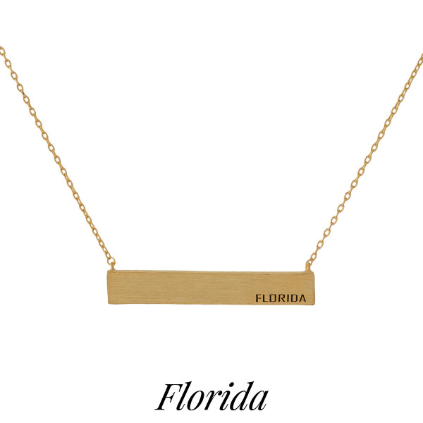 """Dainty necklace with a bar pendant, stamped with each state. Approximately 16"""" in length."""