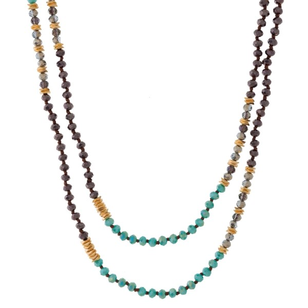 Wholesale long faceted beaded necklace