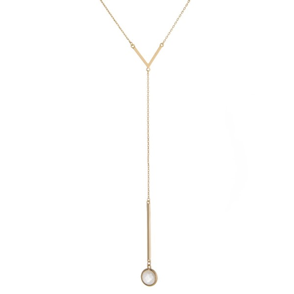 """Dainty, Y necklace with V accent and natural stone pendant. Approximately 24"""" in length."""
