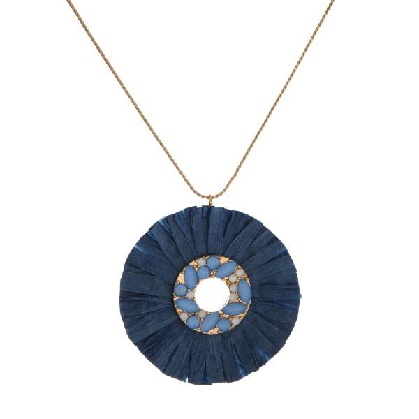 """Gold tone, slide necklace with rhinestone, raffia pendant. Approximately 24"""""""