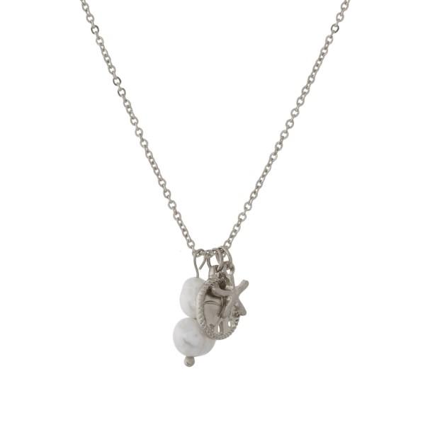Wholesale metal necklace sea life pearl pendants