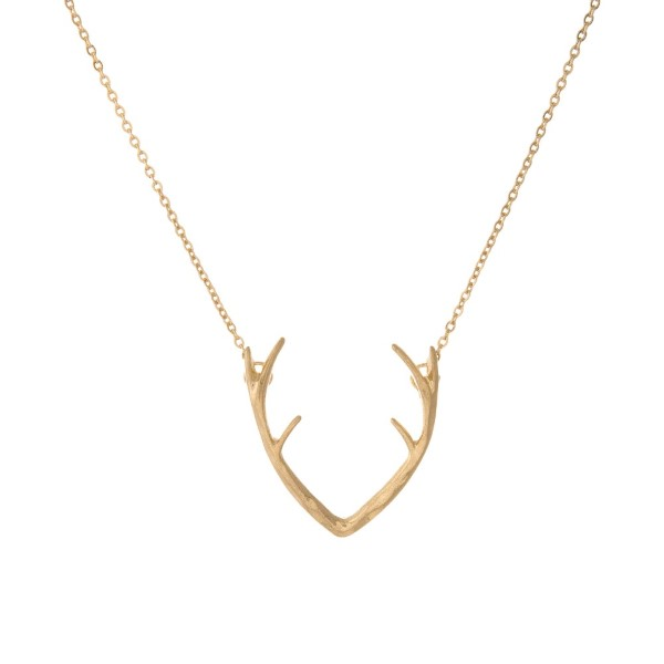 """Dainty, metal necklace with antler focal. Approximately 16"""" in length."""