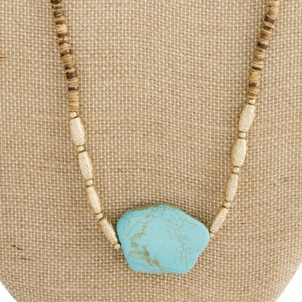 "Long necklace with wooden beads and natural stone pendant. Approximately 32"" in length."
