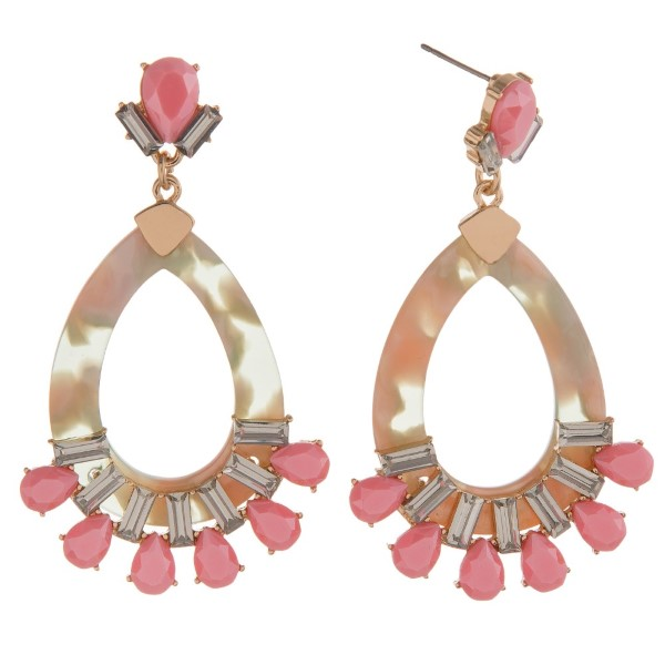 "Statement, post style earring with acetate teardrop and rhinestone detail. Approximately 2.5"" in length."