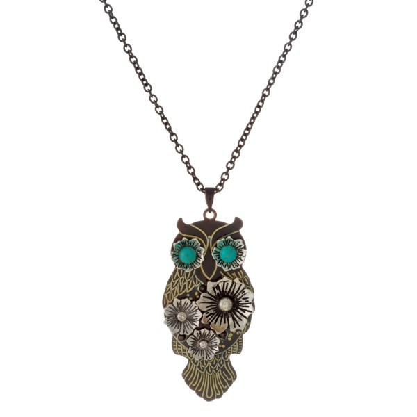 Wholesale long metal necklace owl pendant natural stone detail