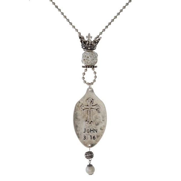 Wholesale long metal necklace charms spoon pendant