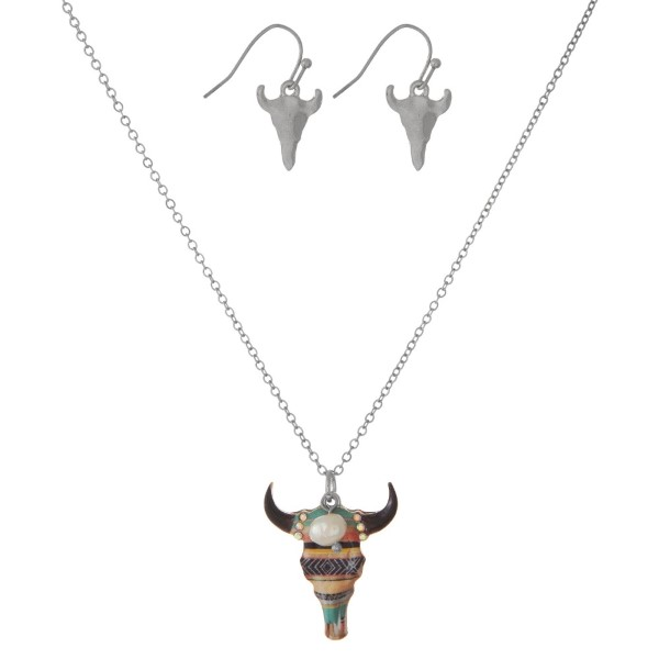 """Dainty necklace set with a colorful steer head pendant and matching fishhook earrings. Approximately 16"""" in length."""