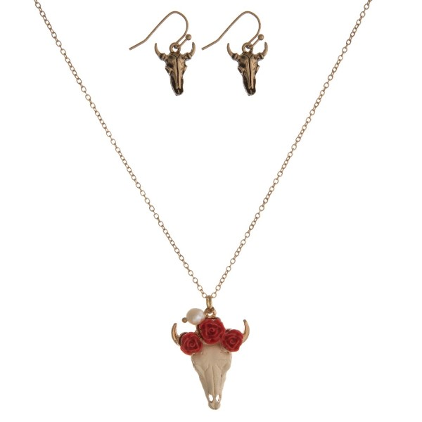 "Dainty necklace set with a colorful steer head pendant and matching fishhook earrings. Approximately 16"" in length."