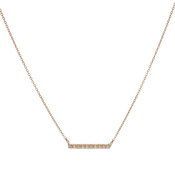 "Dainty necklace with rhinestone bar. Approximately 16"" in length."